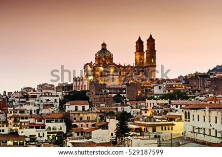 night view Taxco city in Mexico