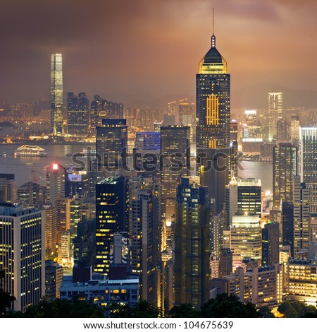 Night view to HongKong and Kowloon - stock photo