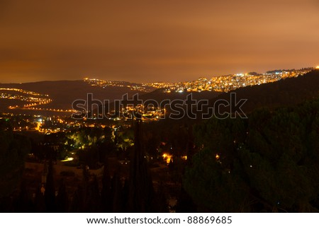 Night view to Jerusalem from Ein Kerem district - stock photo