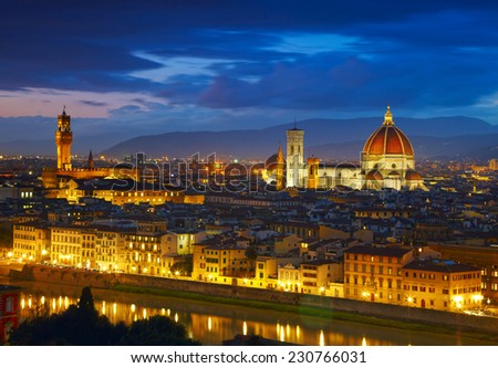 Night view to Palazzo Vecchio and Cathedral of Santa Maria del Fiore (Duomo). Florence, Italy - stock photo