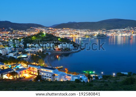 Night view to the bay and the cityscape of Bodrum, Turkey - stock photo