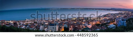 Night view to the black sea coastline - stock photo