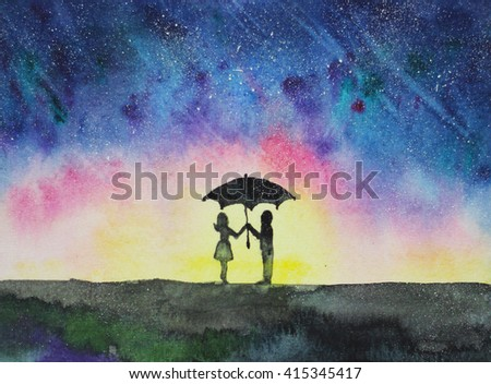 Night View With Couple Under Umbrella Hand Drawn Watercolor