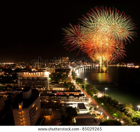 Night view with firework at Pattaya city, Thailand - stock photo