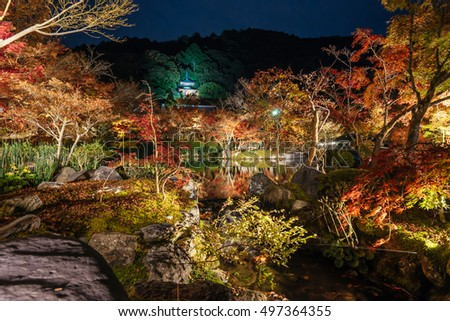 Night View with maple in Eikando temple, Kyoto, Japan