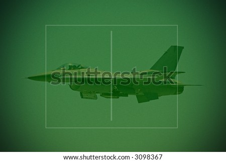 Night vision target view of F-16 fighter (simulation) - stock photo