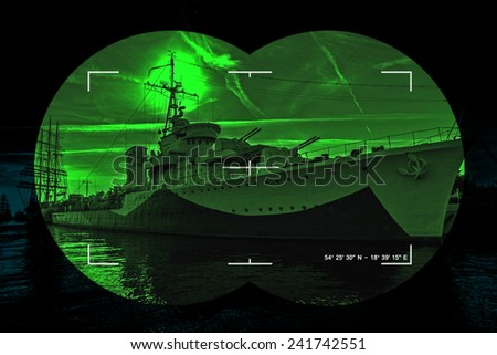 Night vision watching at a warship - Concept Photo. - stock photo