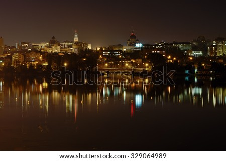 night Voronezh,a reflection of the city in the water
