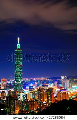 Night was coming of Taipei 101 - stock photo