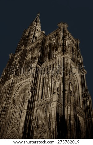 Night Wide angle view of Notre-dame de Strasbourg Cathedral