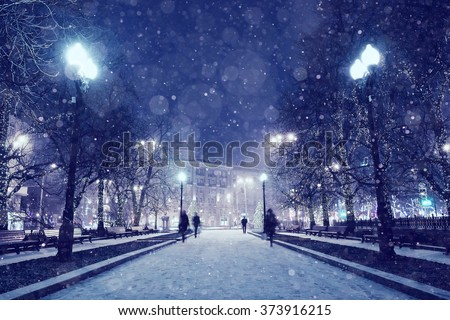Night winter landscape in the alley of city park - stock photo