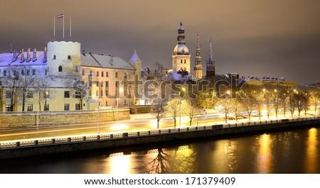 night winter scene in Riga, Latvia - stock photo