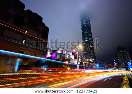night with lights of traffic in Taipei - stock photo