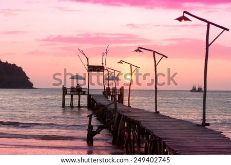 Nightfall by the Sea Way to Sunset  - stock photo