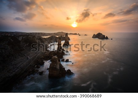 Nightfall on the coast of Liencres, Cantabria, Spain