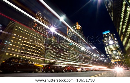 Nightime in the financial city district - stock photo