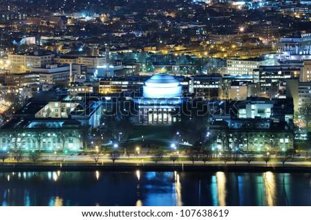 Nightime view of Cambridge, Massachusetts - stock photo