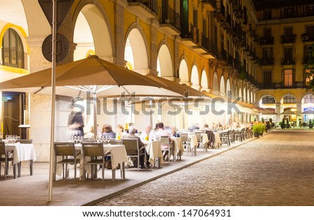 Nightlife in old  european city.  Girona, Catalonia - stock photo