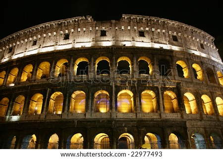 Nightly illumination of Coliseum is in Rome