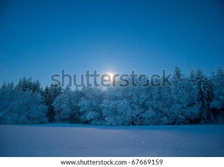 Nightly landscape with snow and moon (at Mt. Essigberg near Kassel, Germany) - stock photo
