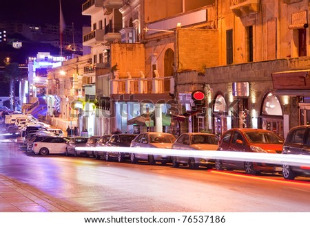 Nightly life in Paceville town streets. Malta - stock photo