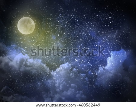 Nightly magic sky with large moon