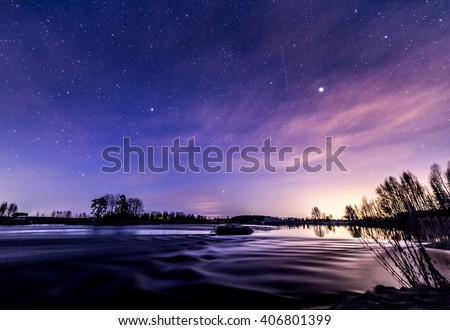 Nightly reflections by the river at springtime - stock photo