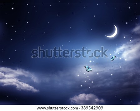 Nightly sky with large moon and flying butterflies