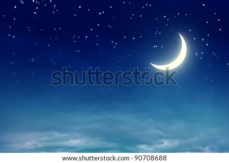Nightly sky with moon and stars - stock photo