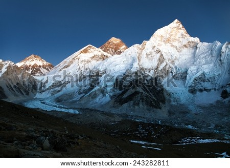 nightly view of Everest and Nuptse from Kala Patthar  - stock photo