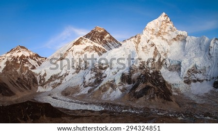 nightly view of Everest and Nuptse from Kala Patthar near Gorak shep village and Everest base camp, Khumbu valley, Sagarmatha national park, Nepal - stock photo