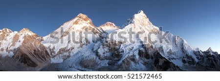 nightly view of Mount Everest, Lhotse and Nuptse from mount Pumo Ri base camp - Sagarmatha national park, Khumbu valley, Nepal