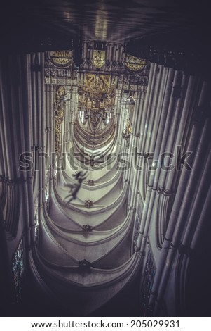 Nightmare, cathedral indoor in fantasy scene, ghost - stock photo