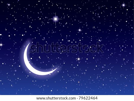 Nights sky with moon and stars ideal desktop or background - stock photo
