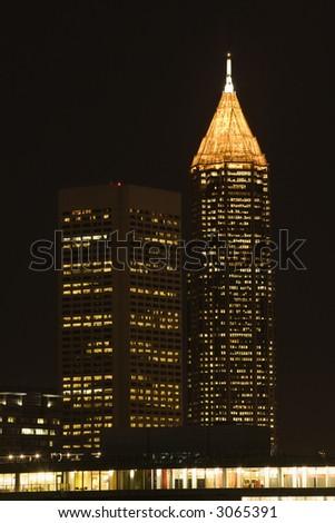 Nightscape of Atlanta, Georgia skyline. - stock photo