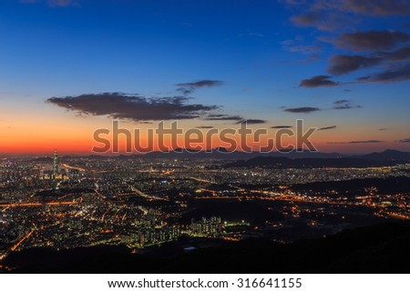 Nightscape of seoul viewed from Mt.Namhansanseong in South Korea.