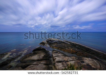 Nightscape view Of Tip of Borneo,Sabah - stock photo