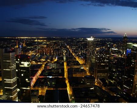 Nightscene of Frankfurt - stock photo