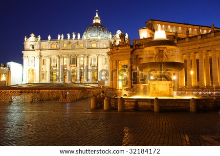 Nightshot of Saint Peter's Basilica with a fountain in front - stock photo