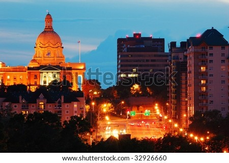 Nightshot of the legislative building in downtown at dusk, edmonton, alberta, canada - stock photo