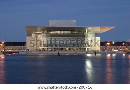Nightshot of the new operahouse in Copenhagen before opening - stock photo