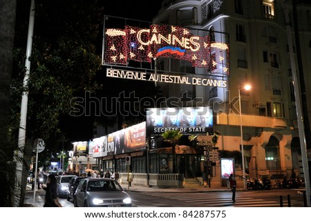 Nighttime atmosphere on La Croisette, Cannes, at the 61st Annual International Film Festival de Cannes. May 19, 2008  Cannes, France. Picture: Paul Smith / Featureflash - stock photo