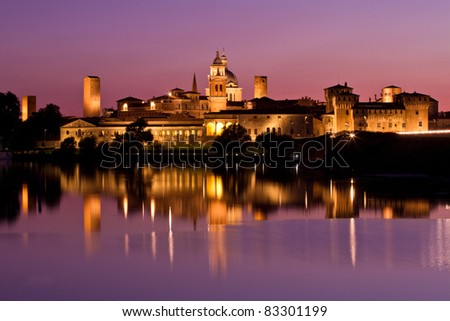 Nighttime panorama of historical Mantova, Nothern Italy - stock photo