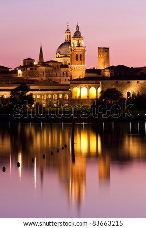 Nighttime panorama of historical Mantova, Nothern Italy