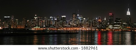 Nighttime Panoramic of Midtown Manhattan from Jersey
