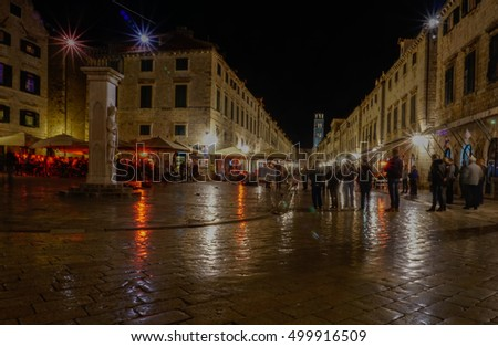 Nighttime Scene of a Square in Dubrovnik, Croatia