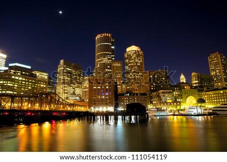 Nighttime view of Boston Harbor, Massachusetts, USA - stock photo