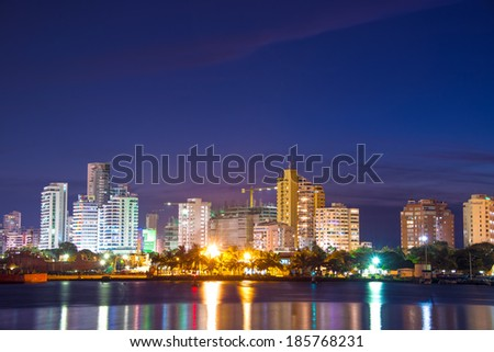Nighttime view of the modern part of Cartagena, Colombia - stock photo