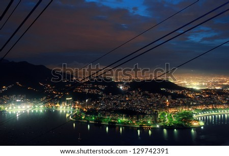 Nighttime view on Rio de Janeiro from Sugarloaf Mountain - stock photo