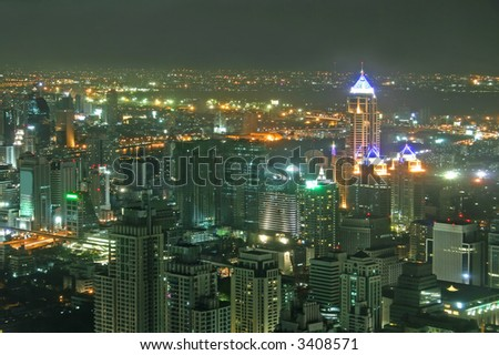 Nighttime view over downtown Bangkok in Thailand